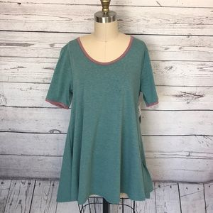 LuLaRoe Perfect T Green Red Size Small